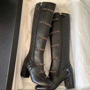 Chanel quilted chain tall boots